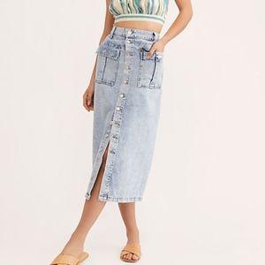 Free People Denim Button-Down Midi Skirt, NWT